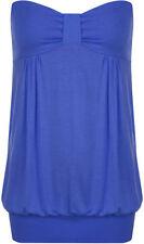 Magliette da donna blu basici senza maniche