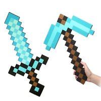 Minecraft Large Blue/Grey  Diamond Sword Pickaxe axe EVA Weapons Plush soft Doll