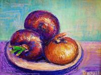 Original Oil Painting Still Life Bowl of Red and Yellow Onions Impressionism Art