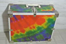 Vtg. 70's Roller Skate Metal Carry Case Box Tie-Dye Rainbow Hippie Retro Disco