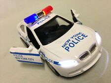 """Police Car With Light, Sound 5"""" DieCast Pull Back Action Boys Girls Toy White"""