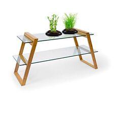 Relaxdays Mukai Tavolino 2 gambe Bambù e Vetro Naturale