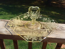 Paden City ARDITH Floral Etch Topaz Yellow Glass CENTER HANDLE TRAY PLATE 1940's
