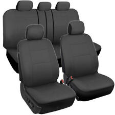 Solid Charcoal Gray Full Set Car Seat Covers Premium Stitched w/ Split Bench
