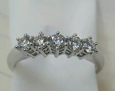 Anello Veretta oro bianco 18 kt 5 diamanti carati 0,46 F IF- super sconto