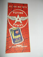 TIDEWATER OIL COMPANY PENNSYLVANIA MAP FLYING A ETHYL MOTOR OIL 1956
