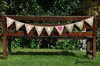 Bespoke Hessian Bunting Banner Rustic Shabby Chic Wedding Thank you Pink Heart