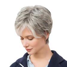 10'' Mode Perruque Femme Courte en Couches Gris en Vrais Cheveux Humains
