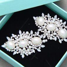 Diamante Rhinestone Wedding Bridal Pearl Vintage Style Shoe Clips Decoration