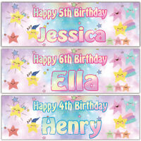 2 personalised birthday banner colour stars children party poster decoration