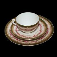 Antique Tea Cup Saucer Floral Gilded Hand Painted Porcelain Victorian MZ Austria