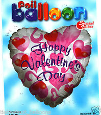 """18"""" FOIL BALLOON HAPPY VALENTINES DAY WHITE & PINK HEARTS NEW IN RETAIL PACKET"""