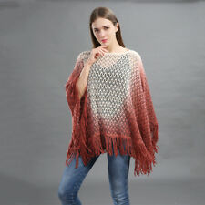 Women Poncho Wrap Shawl Cape Top Blouse Cloke Cloak Knit Crochet Gradient Tassel