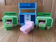 Vintage Barbie Dream House Furniture lot 2 GREEN DESKS PINK TOILET BLUE DRESSER