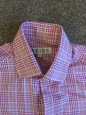 MENS REISS RED/WHITE CHECKED BUTTON UP LONG SLEEVED FITTED SHIRT SIZE M MEDIUM