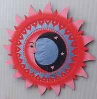 SPECCHIO SOLE/LUNA DIPINTO A MANO Rosso e rosa DIM 80 CM ETNICO  con mosaico