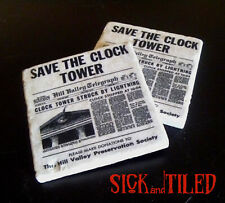 Back To The Future Save The Clocktower Tumbled Stone Drink Coaster Set of 2