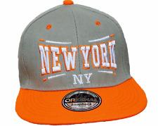 Basecap BASEBALL Snap Back Cap Grigio Arancione NEW YORK fittet Donna Uomo NY 12