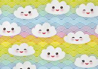 A1 Happy Rainbow Cloud Face Poster Art Print 60 x 90cm 180gsm -Cool Gift #14706
