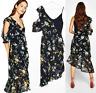 HAODUOYI NWT Asymmetric Cold Shoulder Floral Black Dress Frills UK 12 Japanese