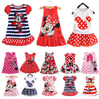 Kids Girls Mickey Minnie Mouse Princess Dress Summer Casual Party Skirt Dresses