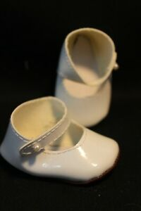 """Baby Doll Shoes - White Patent Mary-Jane - Pearl Button - Appx 3""""  Super Soft"""
