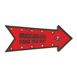 """Tampa Bay Buccaneers Arrow Marquee Sign - Light Up - Room Bar Decor NEW 18"""""""