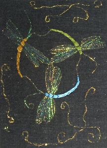 "ACEO Original ""Celtic Dragonflies Trio"" Silk Hand Embroidery - A Lobban"