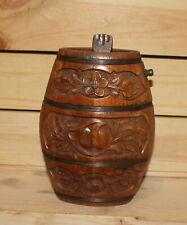 Vintage folk floral carved wood brandy bottle flask