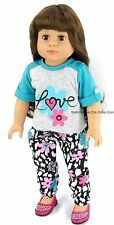 Love T Shirt+Flower Pant Set 18 in Doll Clothes Fits American Girl