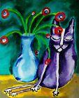 Original 'Flower Nap Cat' 8 x 10 Acrylic Painting Expressionism Samantha McLean