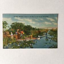 Seminole Indians in the Heart of the Florida Everglades Uncirculated Postcard