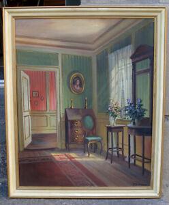 Frederik  Svendsen (1885) Morning light. Scandinavian manor house interior.