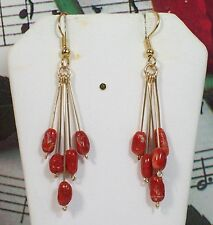 Genuine Mediterranean Coral Earrings, 14k gold filled. ITCRER002