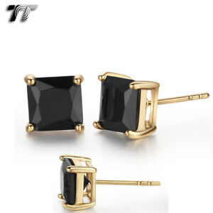 TT 18K Gold Plated Black CZ Square Stud Earrings 5mm-8mm (ES02D) NEW