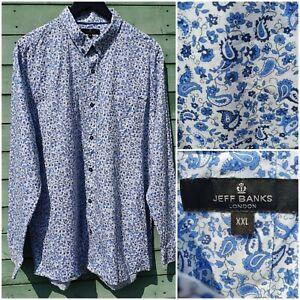 Jeff Banks Size XXL Blue / White Floral Paisley Pattern 100% Cotton Shirt Smart