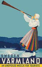 Vintage Suecia varmland sueco de viaje A3 cartel impresión
