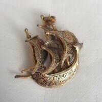 Vintage Goldtone Toledo Damascene Galleon Nautical Maritime Ship Brooch Pin boat