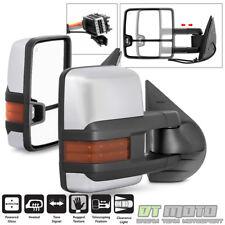 PAIR(2) 2007-2013 Silverado Sierra Power+Heated+LED Signal Towing Mirrors Chrome