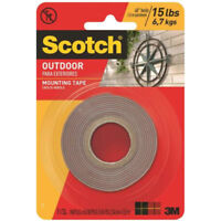 """Scotch 411P Outdoor Mounting Double Sided Tape, 1"""" x 60"""",Black"""
