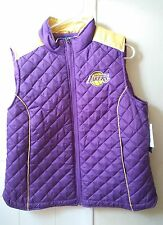 New Los Angeles Lakers Giii Nba 4 Her Women puffy Vest Purple Yellow Xl #