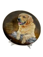 """Cherished Golden Retrievers Plate """"Someone To Comfort� Danbury Mint Collection"""