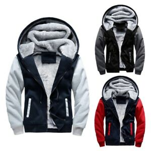 M-5XL Men's Winter Thick Warm Hoodie Jacket Male Wool Coat Lining Casual Outwear