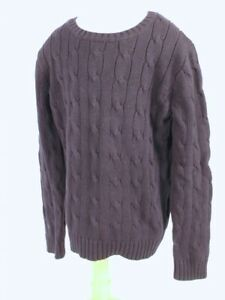 CREWCUTS BY J CREW Boys Navy Blue Cabled Cotton Crewneck Sweater Sz 6-7