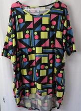 Lularoe Irma Shirt High Low Tunic Black w Multi Color Geometric Print L #6688