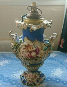Antique Rare Capodimonte Floral Porcelain Table Desk Lamp Light Baroque Rococo