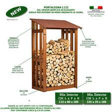 Porta legna L122 in legno deposito casetta pergola pensilina per camino riposto