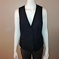J Jill Vest Size S Small Womens Wool Sleeveless Navy Blue Button Down Tie Back