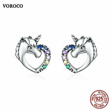 Voroco Free Shipping Sterling Silver Earrings Unicorn Charm CZ Women Jewelry