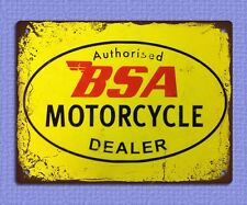 metal sign plaque vintage retro style BSA motorcycle dealer garage tin 20 x 15cm